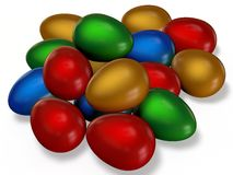 Colored Easter eggs. Dumped a bunch on the plane Royalty Free Stock Photo