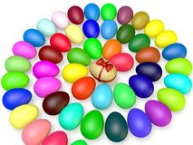 Colored Easter Eggs. Colored eggs lie in a plane spiral Stock Photos