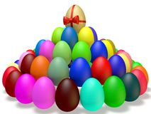 Colored Easter Eggs. Are on the plane of the pyramid Stock Photos