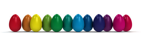 Colored easter eggs. Easter eggs in the colors of the rainbow Stock Photos