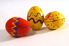 Colored easter eggs. Three colored easter egg's Royalty Free Stock Photos