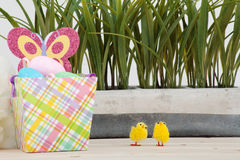 Colored easter eggs background Stock Photo