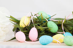 Colored easter eggs background stock photography