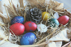 Colored Easter eggs in the basket.  stock photos