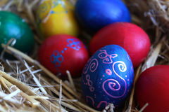 Colored Easter eggs in the basket.  royalty free stock photography