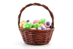 Colored Easter eggs in a basket Royalty Free Stock Photography