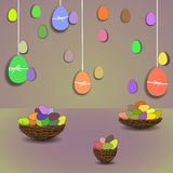 Colored Easter eggs and baskets Stock Image