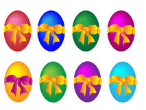 Colored Easter eggs with bows Stock Images