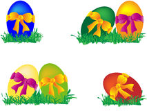 Colored Easter eggs with bows. Cranberry, Compilation Royalty Free Stock Photography