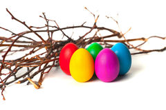 Colored Easter eggs from the branches. On a white background Royalty Free Stock Photo