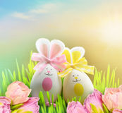 Colored easter eggs bunny on grass and flowers. Colored easter eggs bunny on green grass and flowers Royalty Free Stock Photography