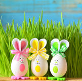 Colored easter eggs bunny on green grass Stock Photography