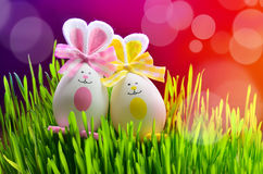 Colored easter eggs bunny on green grass Royalty Free Stock Photos