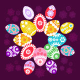 Colored easter eggs. Easter eggs card with colourful eggs.  illustration banner Royalty Free Stock Photo