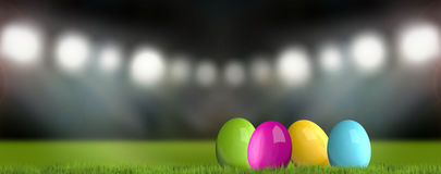 Colored easter eggs 3d render green grass easter background. Illustration graphic Royalty Free Stock Images