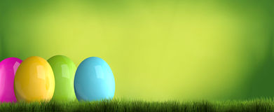 Colored easter eggs 3d render green grass easter background. Illustration graphic Royalty Free Stock Photography