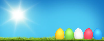 Colored easter eggs 3d render. Illustration Royalty Free Stock Image