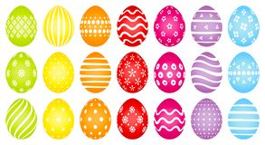 Colored Easter Eggs With Different White Pattern royalty free illustration