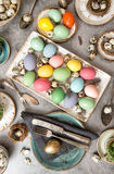 Colored Easter eggs Festive table decoration Stock Photography