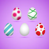 Colored easter eggs. Five colored happy easter eggs. Vector illustration Stock Image