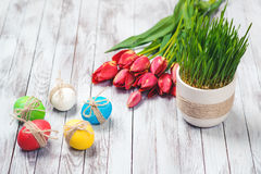 Colored easter eggs, flower pot with green grass and beautiful tulips on wooden background. Royalty Free Stock Photo