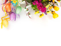 Colored easter eggs with flowers Royalty Free Stock Image