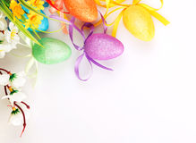 Colored easter eggs with flowers Royalty Free Stock Photos