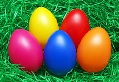 Colored Easter Eggs in Grass Royalty Free Stock Photography