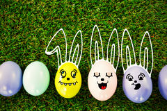 Colored easter eggs on grass Stock Photo