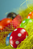 Colored Easter eggs on the grass Royalty Free Stock Photos