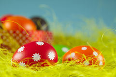 Colored Easter eggs on the grass Royalty Free Stock Photography