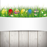 Colored Easter Eggs Grass Centre Banner Royalty Free Stock Image