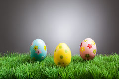 Colored easter eggs in grass, gray background Stock Photos