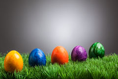 Colored easter eggs in grass, gray background Stock Photo
