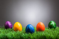 Colored easter eggs in grass, gray background Royalty Free Stock Photography