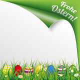 Colored Easter Eggs Grass Scrolled Frohe Ostern. German text Frohe Ostern, translate Happy Easter Stock Photos