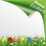 Colored Easter Eggs Grass Scrolled Happy Easter Stock Photo