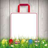 Colored Easter Eggs Grass Shopping Bag Royalty Free Stock Images