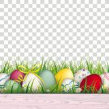 Colored Easter Eggs Grass Transparent Background. Colored eggs with ribbon in the grass on the checked background Stock Photos