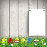 Colored Easter Eggs Grass 2 White Boards Royalty Free Stock Photos