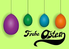 Colored Easter eggs on a green background. German Happy Easter background with four colored Easter eggs, vector illustration Stock Photos