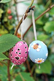 Colored Easter Eggs hanging on Ribbons on branch Stock Image