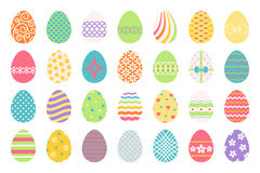 Colored easter eggs icons. Colored easter eggs or color ostern egg icons with decoration patterns vector illustration Stock Image
