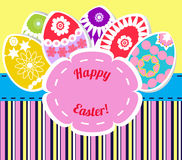 Colored easter eggs illustration. Easter eggs card with colourful eggs.  illustration banner Royalty Free Stock Image