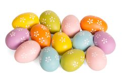 Colored Easter Eggs Isolated On White Background. Stock Images