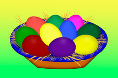 Colored easter eggs laying in a basket. Painted eggs.  Colored  Easter Eggs.  Royalty Free Stock Images
