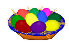 Colored easter eggs laying in a basket. Painted eggs.  Colored  Easter Eggs.  Royalty Free Stock Image