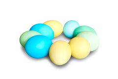 Colored Easter eggs laying in circle Royalty Free Stock Photography
