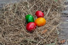 4 colored Easter eggs lays in the dry hay on the wooden aged board stock image