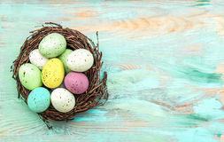 Colored easter eggs in nest on rustic wooden background Stock Photo